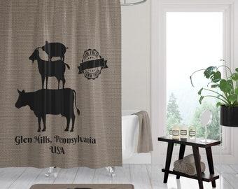 Shower Curtain Farm Fresh Stacked Animals Custom Personalized Bath Mat Towels