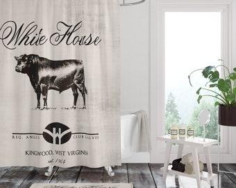 Farmhouse Shower CurtainPrimitive Black Angus Cow Custom Personalized Bath Mat Towels