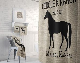 Custom Quarter Horse Shower Curtain Bath Mat Towels Personalized Name Farmhouse Decor Ranch