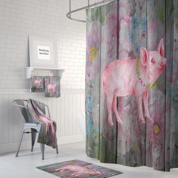 bauernhaus schicke kleine schwein dusche vorhang badematte. Black Bedroom Furniture Sets. Home Design Ideas