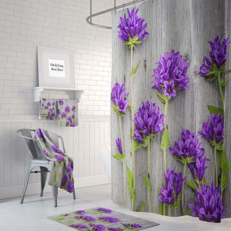 Wildflower Shower Curtain Bath Mat Towels