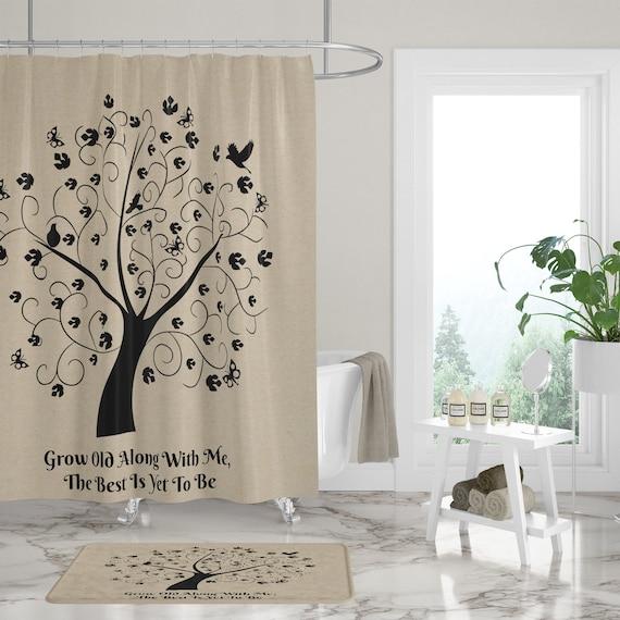 Shower Curtain Tree Of Life Farmhouse Chic Bath Mat