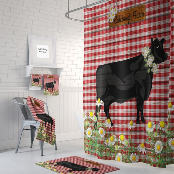 Personalized Farm Shower Curtain Farmhouse Chic Vintage Red