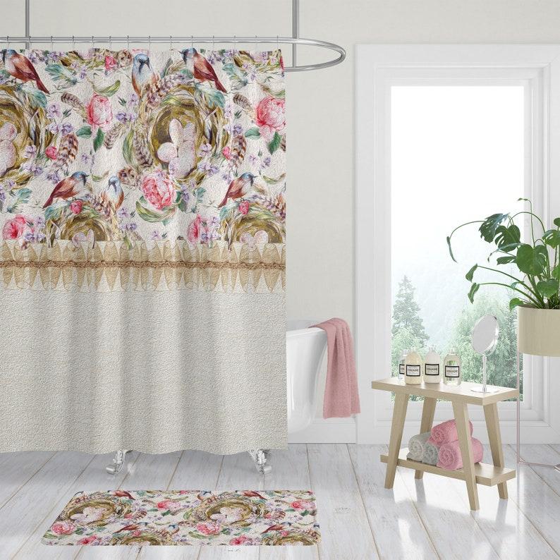 Shower Curtain Shabby Farm Bath Mat