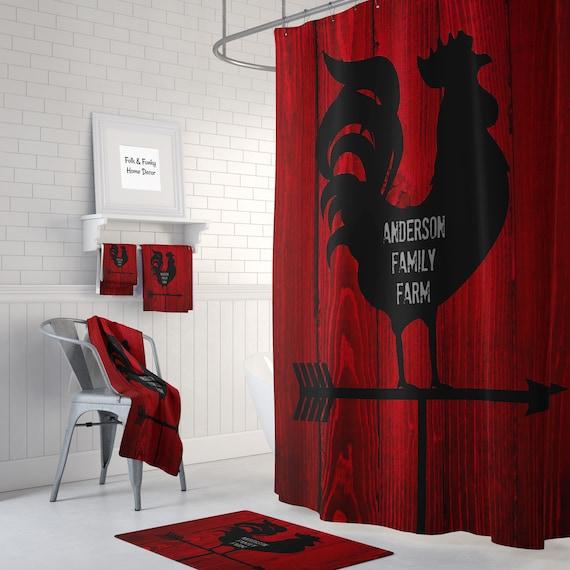 Farmhouse Shower CurtainPrimitive Barnwood Weathervane