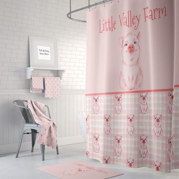bauernhaus chic personalisierte kleine schwein dusche vorhang etsy. Black Bedroom Furniture Sets. Home Design Ideas