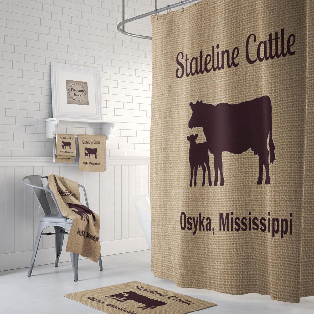Farmhouse Chic Cow Shower Curtain FAUX Burlap Custom