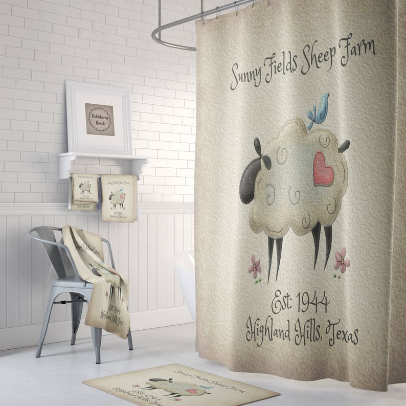 Sheep Shower Curtain Country Decor Custom Personalized