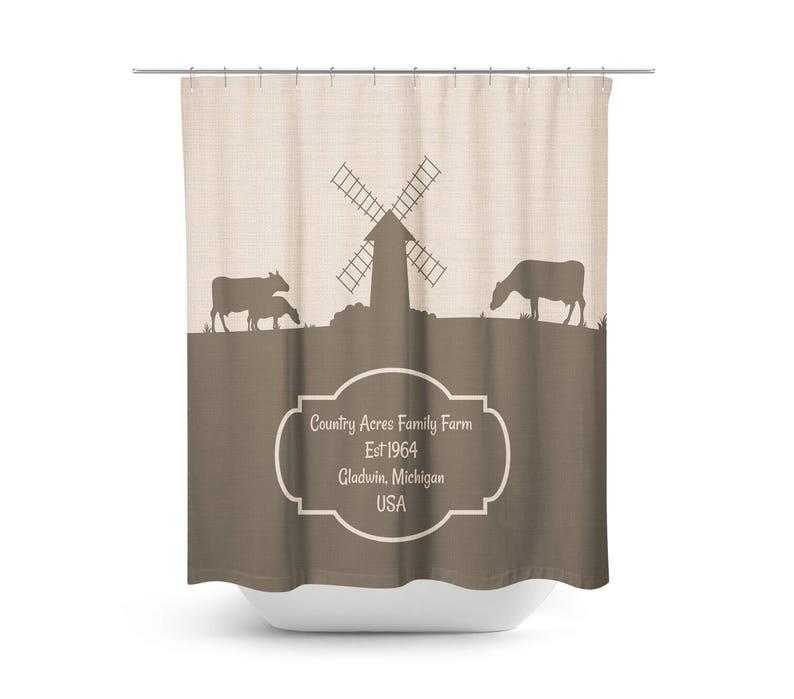 Farmhouse Chic Dairy Farm Shower Curtain Beige Brown Custom