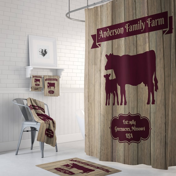 Personalized Farmhouse Chic Cow Shower Curtain Faux Wood