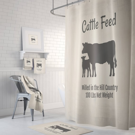 Cow Shower Curtain Farmhouse Chic Faux Feed Bag Bath Mat
