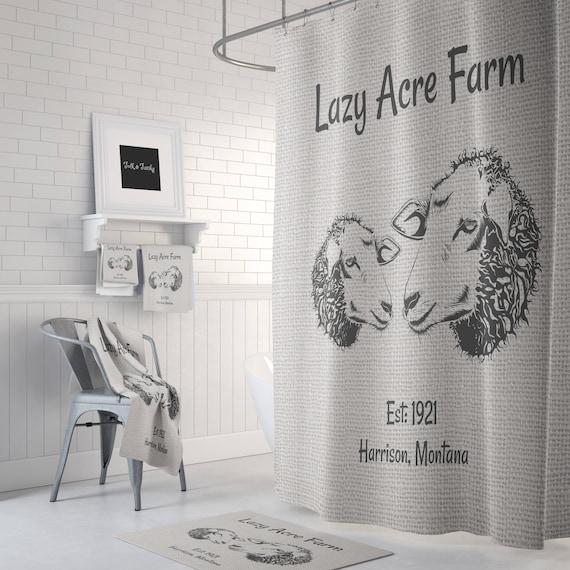 Ferme Chic mouton agneau rideau de douche, sur mesure personnalisé ...