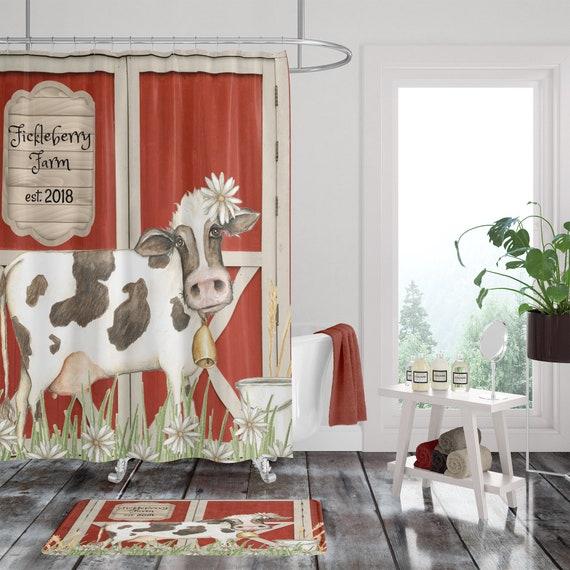 Shower Curtain Cow Farmhouse Bathroom