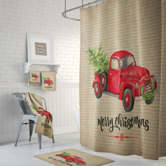 Rustic Red Truck With Christmas Tree Shower Curtain Red