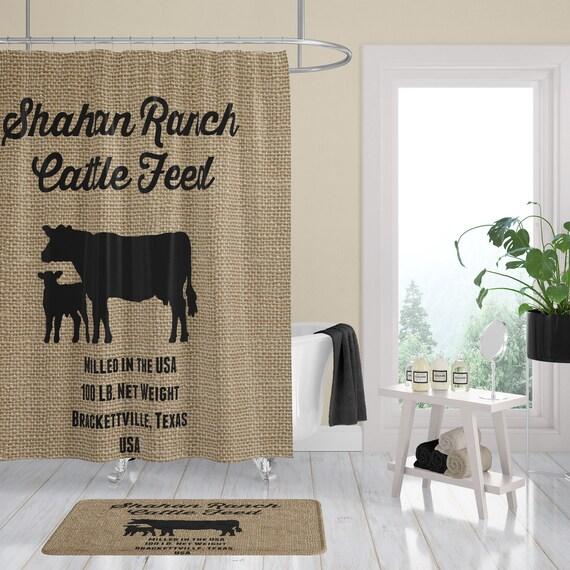 Farmhouse Chic Cow Shower Curtain FAUX Burlap Feed Bag