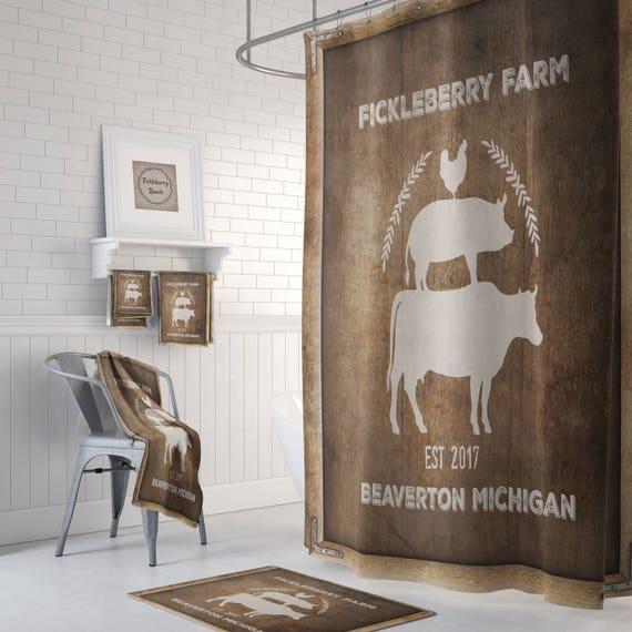 Farmhouse Shower Curtain Vintage Sign Primitive Grunge