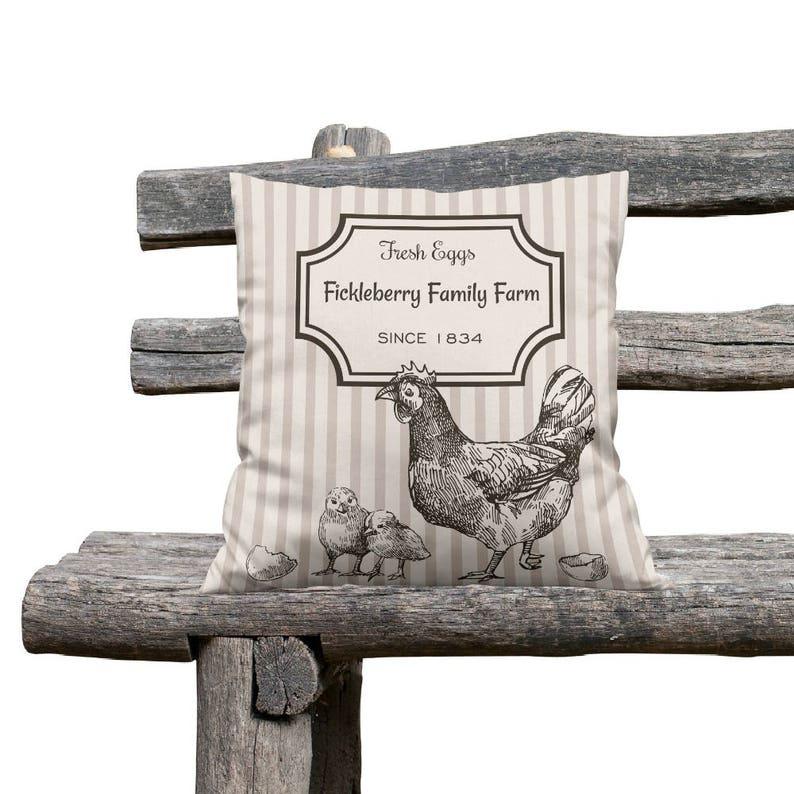 Personalized  Farm Throw Pillow Fresh Eggs  Beige