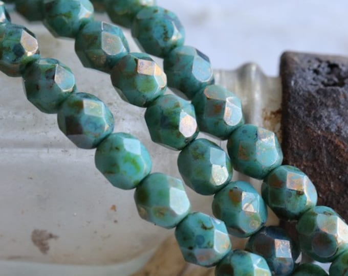 sale .. EARTHY TURQUOISE PEBBLES .. 25 Premium Picasso Czech Glass Beads 6mm (4811-st)