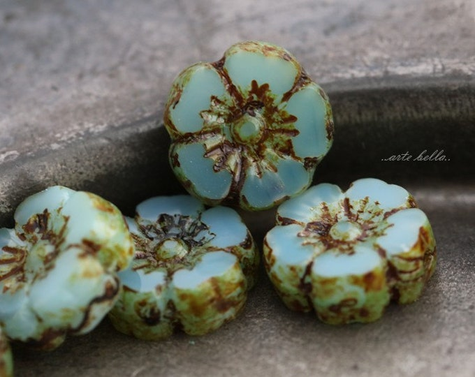LAGOON PANSY No. 6 .. 6 Picasso Czech Glass Flower Beads 10mm (5452-6)