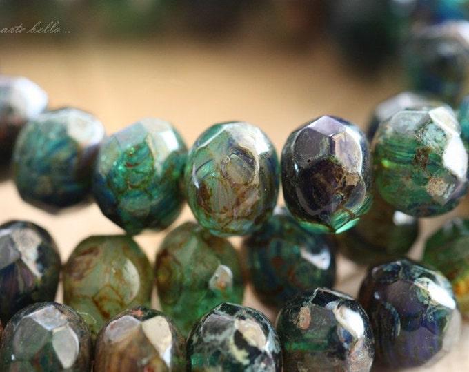 DEEP SEA .. 10 Premium Picasso Czech Glass Rondelle Beads 6x9mm (B110-10)