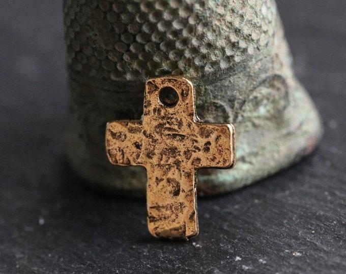 DECO CROSS No. 196 .. 2 Mykonos Greek Tiny Cross Charms 9x12mm (M196-2)