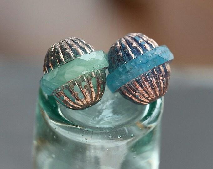 BRONZED OCEANIC GROOVES .. 4 Premium Metallic Picasso Czech Glass Saturn Beads 12x11mm (8340-4)