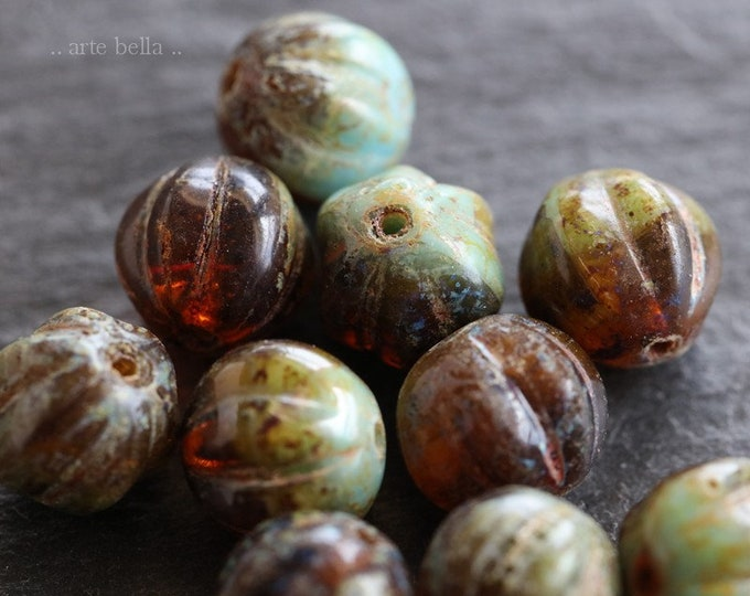 AGED TORTOISE MELONS 8mm .. 10 Premium Picasso Czech Glass Melon Beads (6454-10)