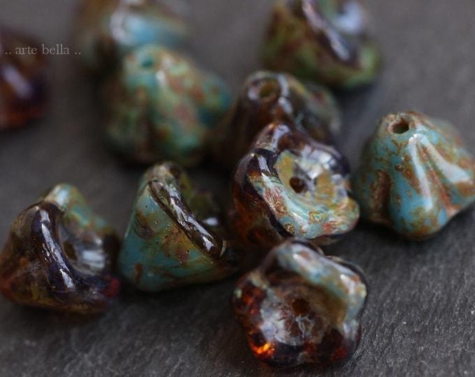 AMBER SKY POSIES .. 10 Premium Picasso Czech Glass Flower Beads 9x6mm (7317-10)