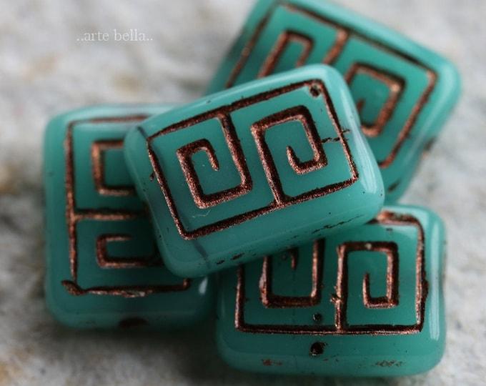 TEAL LICHEN KEYS .. 4 Premium Picasso Czech Glass Rectangle Beads 9x13mm (6275-4)