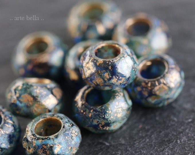 GOLDEN TROPICAL ROLLERS .. New 10 Premium Picasso Czech Glass Large Hole Roller Beads 6x9mm (7493-10)