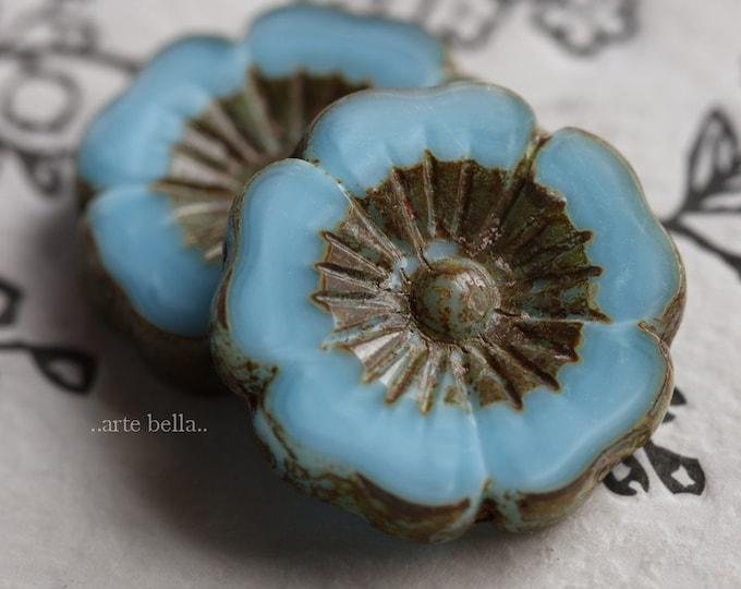 SKY PANSY .. 1 Premium Picasso Czech Glass Flower Beads 22mm (6944-1)
