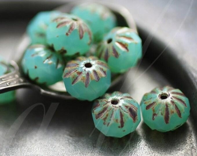 sale .. LAGOON CRULLER .. 10 Premium Picasso Czech Glass Cruller Beads 9x6mm (2813-10)