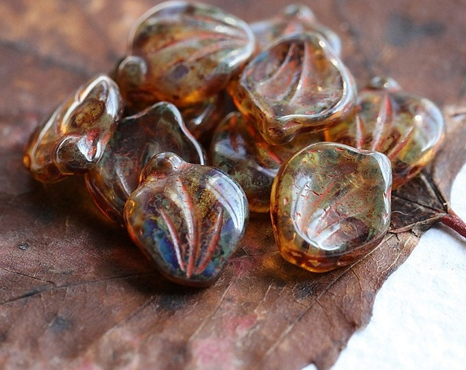 EARTHY AMBER LEAVES .. New 10 Premium Picasso Czech Glass Leaf Beads 15x12mm (8441-10)
