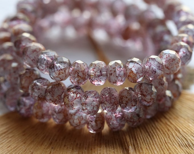 LUSTER PINK GRAPES .. New 30 Premium Czech Glass Rondelle Beads 3x5mm (8074-st)
