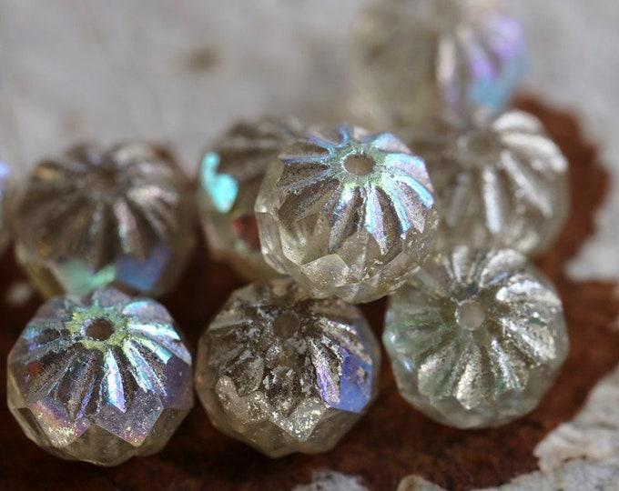 SILVERED MYSTIC CRULLER .. 10 Premium Mercury Czech Glass Cruller Beads 9x6mm (7485-10)