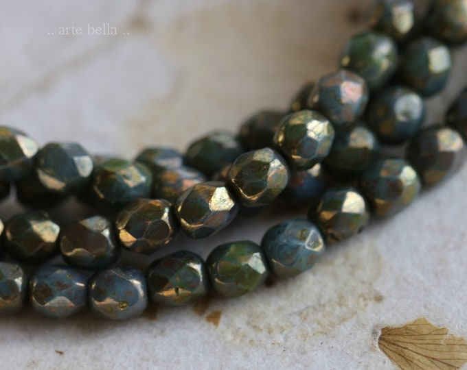 BRONZED SLATE BITS 4mm .. 50 Premium Picasso Faceted Czech Glass Beads 4mm (6591-st)