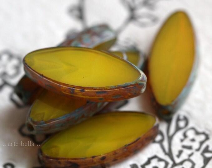 LEMON PETALS .. NEW 6 Premium Picasso Czech Glass Spindle Beads 17x8mm (7066-6)