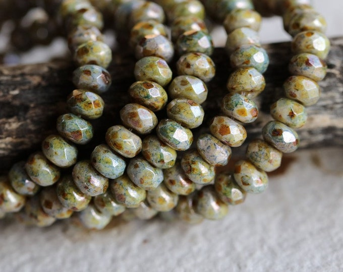 SPRING MEADOW BABIES .. New 30 Premium Picasso Czech Glass Faceted Rondelle Beads 3x5mm (8742-st)