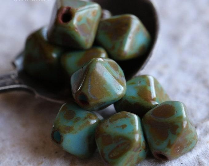 sale .. LICHEN SKY DIAMONDS .. 10 Picasso Czech Diamond Glass Beads 10mm (6215-10)