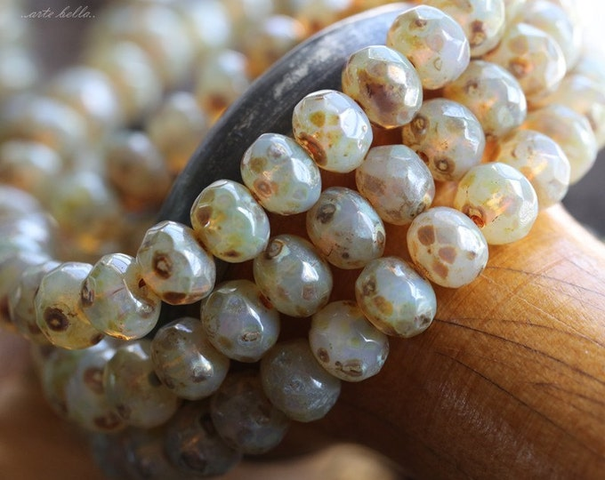 CASHMERE GLOW No. 3 .. 10 Premium Picasso Czech Rondelle Glass Beads 5x7mm (4772-10)