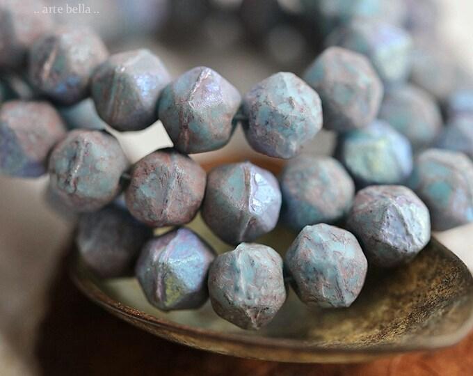 MYSTIC PLUM NUGGETS .. New 20 Premium Etched Czech Glass English Cut Beads 8mm (8844-st)