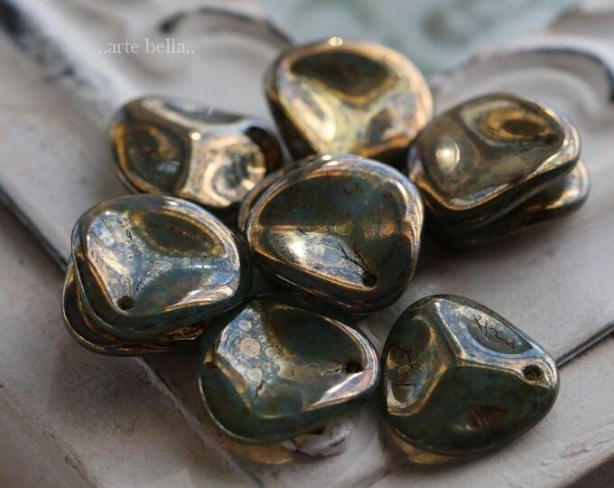 sale .. ENTRANCED .. 10 Premium Picasso Czech Glass Petal Beads 13-14mm (3281-10)