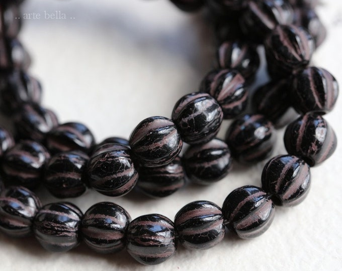 DARK CHOCOLATE MELONS 6mm .. 25 Premium Picasso Large Hole Czech Glass Melon Beads (7092-st)