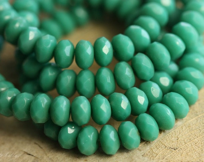 SIMPLY TEAL BITS .. 30 Premium Czech Rondelle Glass Beads 3x5mm (B52-st)