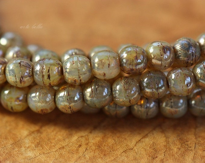 CASHMERE DRUKS 4mm .. 50 Premium Picasso Czech Druk Glass Beads (4115-st)