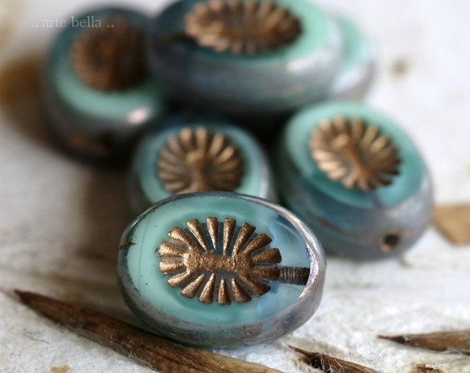MINT AQUA STARS .. 6 Premium Picasso Czech Kiwi Glass Beads 14x10mm (6200-6)