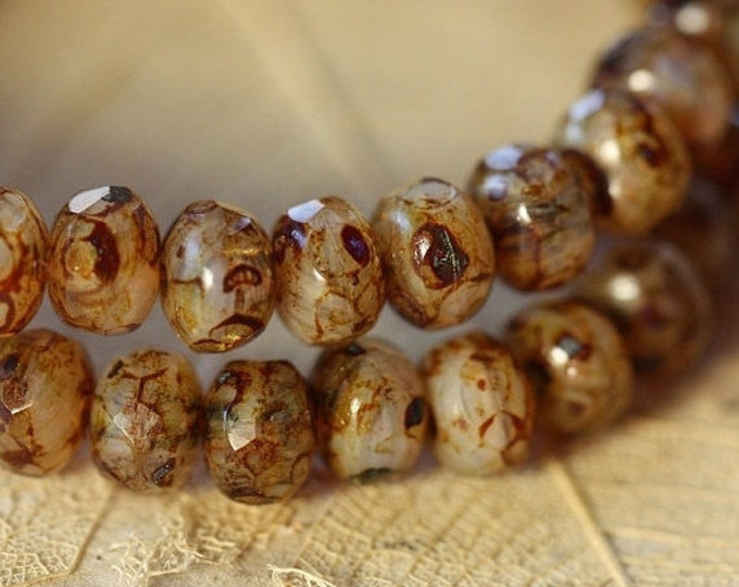 ALMOND TOFFEE .. 30 Premium Picasso Czech Glass Rondelle Beads 3x5mm (1227-st)