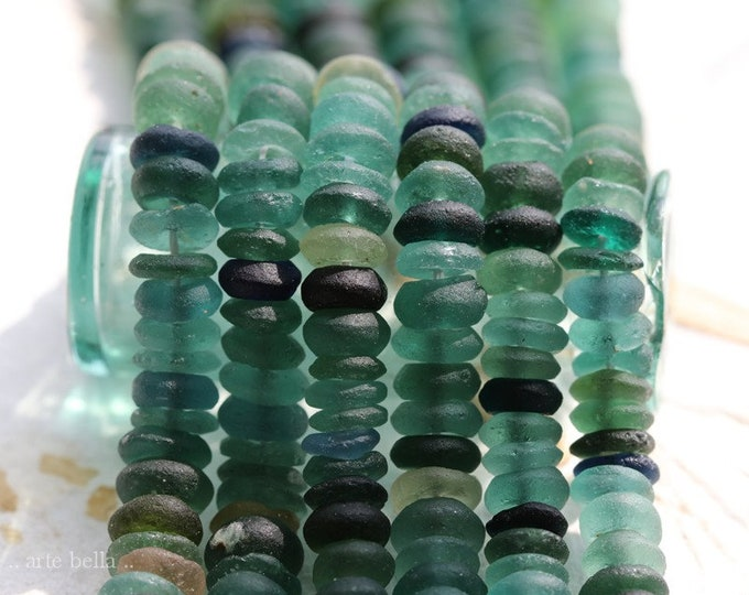 ANCIENT ROMAN GLASS No. 465 .. Genuine Ancient Roman Glass Smooth Rondelle Donut Bead Strand (rg-465)