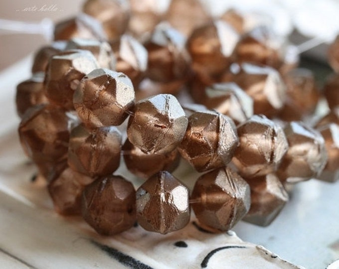 COPPER POPS .. 10 Picasso Czech Glass Antique Cut Beads 10mm (4773-10)