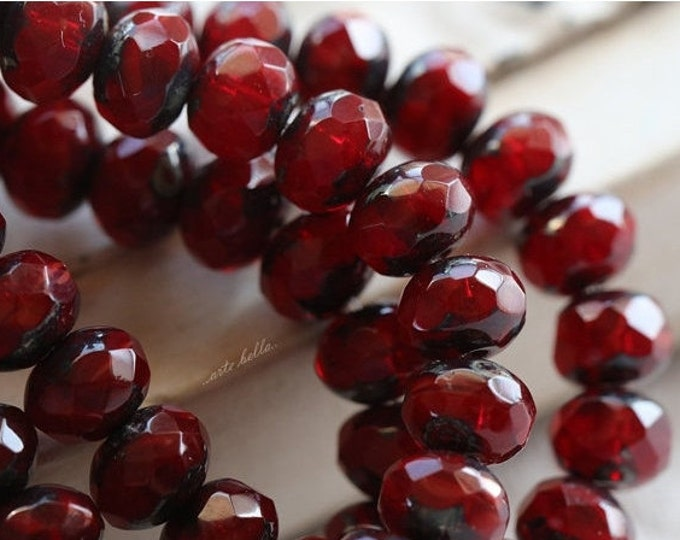 RED HOT POPS .. 10 Premium Picasso Czech Rondelle Glass Beads 5x7mm (4760-10)